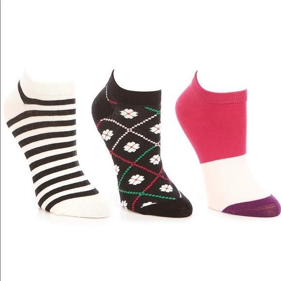 KATE SPADE Spade Flower 3-Pack No Show Sock Set